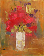 Becky Kim Artist Painting Metal Prints - Flowers in White vase Metal Print by Becky Kim