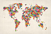 Flower Map Posters - Flowers Map of the World Map Poster by Michael Tompsett