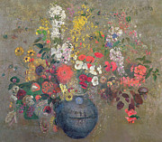 Floral Prints Prints - Flowers Print by Odilon Redon