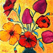 Vivid Colour Painting Posters - Flowers Of Love Poster by Ana Maria Edulescu