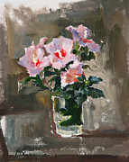 Flower Still Life Painting Posters - Flowers of October Poster by Victoria Kharchenko
