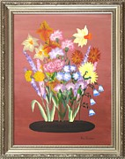 Original  By Artist Paintings - Flowers of the Year by Ron Davidson