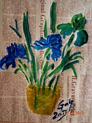 Farfallina Art -Gabriela Dinca- - Flowers on newspaper