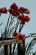 Flowers On The Deck Corner Print by David Kehrli