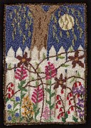 Floral Tapestries - Textiles - Flowers On The Fence by Jan Schlieper