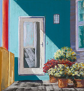 Front Porch Pastels Prints - Flowers On The Porch Print by Susan Frank