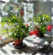 Interior Still Life Prints - Flowers on the Window Print by Yury Malkov