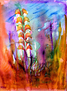 Gladiolus Paintings - Flowers Orange by Mukta Gupta