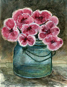 Printmaking Prints - Flowers.  Pretty in Pink and Blue Ball Jar Print by Cathy Peterson