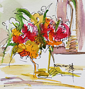 Becky Kim Artist Mixed Media Metal Prints - Flowers Red and Yellow Metal Print by Becky Kim