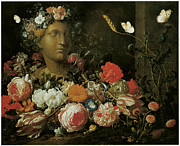 Carnation Painting Metal Prints - Flowers round a Classical Bust Metal Print by Nicolaes Van Veerendael