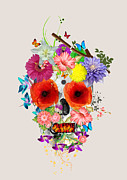 Geek Prints - Flowers Scull  Print by Mark Ashkenazi