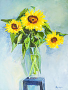 Picture Hat Drawings Framed Prints - Flowers Sunflowers Framed Print by Alexander Maslik
