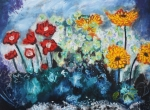 Michael Kulick Paintings - Flowers through the storm by Michael Kulick