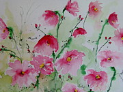 Ismeta Metal Prints - Flowers - watercolor painting Metal Print by Ismeta Gruenwald