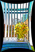 Hi-rise Framed Prints - Flowers With a View Framed Print by Chuck Staley