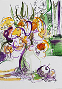 Becky Kim Artist Mixed Media Metal Prints - Flowers with Purple hint Metal Print by Becky Kim