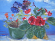Prophetic Art Painting Originals - Flowers with the Sky  by Patricia Kimsey Bollinger