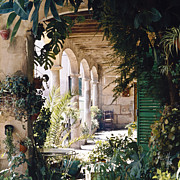 Flowery Framed Prints - Flowery Majorquin  Patio in Valdemosa Framed Print by Heiko Koehrer-Wagner