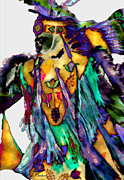 Indians Digital Art Prints - Flowing Feathers Print by Linda  Parker