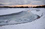 Sunset; Ice Prints - Flowing Ice River Print by Charline Xia