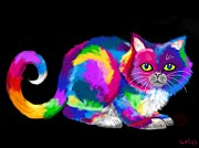 Nick Gustafson Prints - Fluffy Rainbow Cat 2 Print by Nick Gustafson