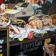 Donut Posters - Fluffys Cafe Poster by Anthony Mezza