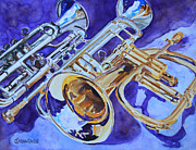 Trumpets Paintings - Flugel and Friends by Jenny Armitage