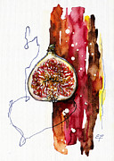 Fresh Food Drawings Prints - Fluidity 15 -Fresh Fig- Elena Yakubovich Print by Elena Yakubovich