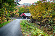 Photos Of Autumn Digital Art Prints - Flume Gorge covered bridge Print by Jeff Folger