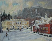 Library Painting Originals - Flurries Over Mount Greylock by Len Stomski