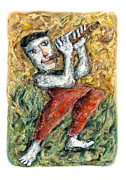 Figures Pastels Prints - Flute Player Print by Nalidsa Sukprasert