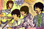 Beatles Pastels Metal Prints - Flute Scene Metal Print by Moshe Liron
