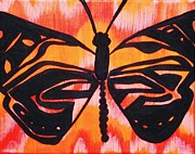Tribal Art Paintings - Flutter 2 Series Abstract Butterfly by LaToya Cole