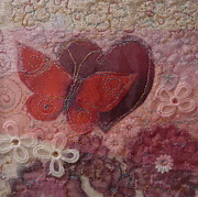 Red Flowers Tapestries - Textiles - Fluttering Heart by Hazel Millington