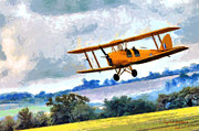 Biplane Paintings - Fly-By by Lynne Jenkins