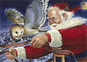 Santa Claus Posters - Fly by Night Poster by Denny Bond