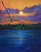 Flying Seagull Painting Framed Prints - Fly by Night Framed Print by Susi LaForsch