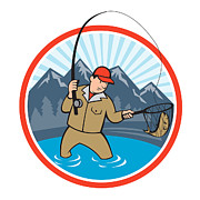 Reel Digital Art Prints - Fly Fisherman Catching Trout Fish Cartoon Print by Aloysius Patrimonio