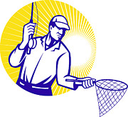 Reel Digital Art - Fly Fisherman Fishing Net Retro Woodcut by Aloysius Patrimonio