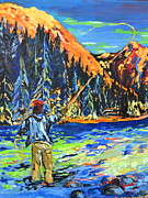 Fly Fisherman Paintings - Fly Fisherman by Gregory Merlin Brown