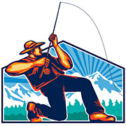 Fly Fishing Prints - Fly Fisherman Reeling Fishing Rod Retro Print by Aloysius Patrimonio