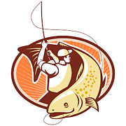 Trout Digital Art - Fly Fisherman Reeling Trout Fish Retro by Aloysius Patrimonio