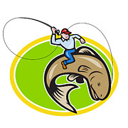 Fisherman Art - Fly Fisherman Riding Trout Fish Cartoon by Aloysius Patrimonio