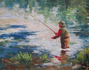Fly Fishing Art Print Posters - Fly Fisherman Poster by Robert Stump