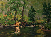 Patrick ODriscoll - Fly Fishing Art Oil...