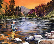 Fly Fisherman Paintings - Fly Fishing at Sunset Mountain Lake by Beth Kantor