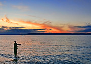 Fly Fisherman Prints - Fly Fishing  Fisherman on Puget Sound Washington Print by Jennie Marie Schell
