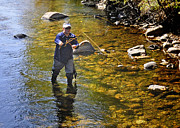 Fly Fishing For Trout Print by Nava  Thompson