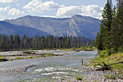 Wade Fishing Metal Prints - Fly fishing on the South Fork of the Flathead River Metal Print by Merle Ann Loman